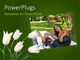 PowerPlugs: PowerPoint template with a family of three having a picnic and some white flowers beside them