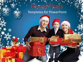 PowerPlugs: PowerPoint template with family of three with Santa caps holding Christmas presents on blue background