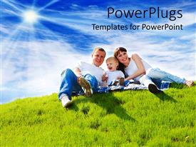 PowerPoint template displaying a family of three smiling happily on a grass field