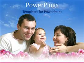 PowerPoint template displaying a family of three smiling together on pink colored flowers