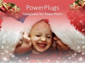 PowerPlugs: PowerPoint template with a family of three wearing Christmas caps and looking happy
