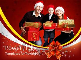 PowerPoint template displaying family of three wearing Christmas hats and smiling with presents