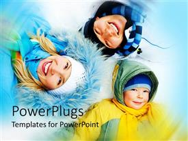 PowerPlugs: PowerPoint template with a family together with blue background