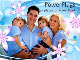 PowerPoint template displaying a family together with flowers in the background