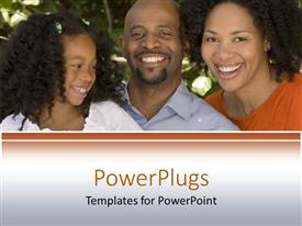 PowerPlugs: PowerPoint template with a family together with tees in the background