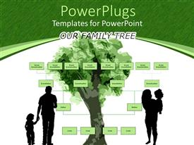 PowerPoint template displaying family tree with parents holding kids on green and white background