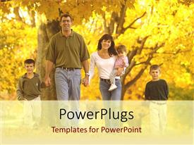 PowerPlugs: PowerPoint template with family with two sons, father, mother, baby with fall maple trees, sons, children, kids, parenting