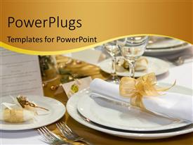 PowerPlugs: PowerPoint template with fancy table set for a wedding dinner with a nice curve