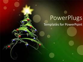 PowerPlugs: PowerPoint template with fantasy beautiful green christmas tree with decorations and yellow star on a red background