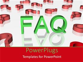 PowerPoint template displaying fAQ concept with red question signs