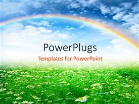PowerPoint template displaying farm with white flowers and green grass, rainbow and sky in background depicting nature