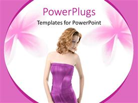 PowerPlugs: PowerPoint template with fashion beauty concept with beautiful woman in purple dress