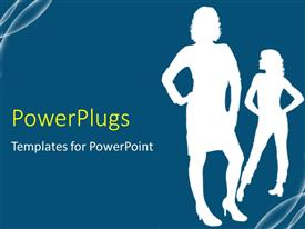 PowerPlugs: PowerPoint template with fashion girls posing with blue color