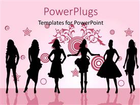 PowerPoint template displaying fashion girls posing in front silhouette with different shapes