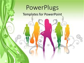 PowerPlugs: PowerPoint template with fashion girls posing in springtime design with foliage and floral shapes