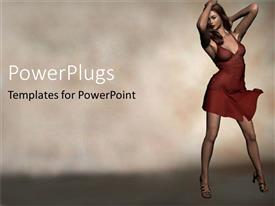 PowerPlugs: PowerPoint template with fashion model woman lady with red dress and high heels sandals on foggy background