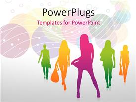 PowerPoint template displaying fashion silhouettes with multi color circles