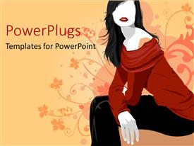 PowerPlugs: PowerPoint template with fashion woman with red blouse and black pants on floral abstract pattern on peach and pink background