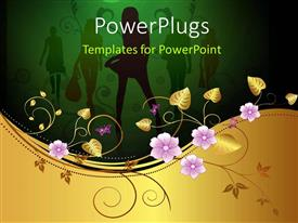PowerPlugs: PowerPoint template with fashon depiction with silhouette of ladies and floral decoration