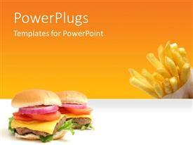 PowerPlugs: PowerPoint template with fast food theme with burger and french fires with yellow color