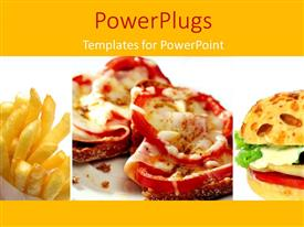 PowerPoint template displaying fast food theme with pizza, burger and french fires, yellow color