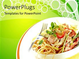 PowerPlugs: PowerPoint template with fast food theme with vegetable noodles, green color
