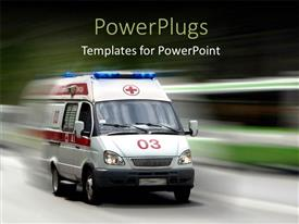 PowerPlugs: PowerPoint template with a very fast moving ambulance with over head lights