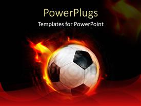 PowerPlugs: PowerPoint template with fast moving black and white soccer ball on fire
