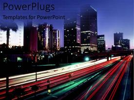 PowerPlugs: PowerPoint template with fast paced traffic and city buildings with lights at night on a blue sky background