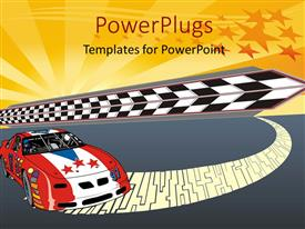 PowerPlugs: PowerPoint template with fast racing car illustration with nice starry glowing illustration