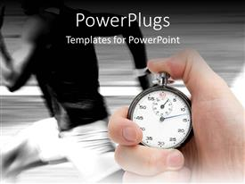 PowerPlugs: PowerPoint template with fast runner in black and white being timed with a stop watch
