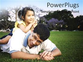PowerPlugs: PowerPoint template with father and daughter playing in the garden with trees