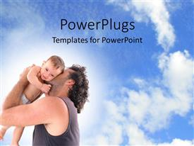 PowerPlugs: PowerPoint template with father holding the baby with nature
