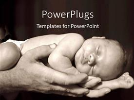 PowerPlugs: PowerPoint template with father holding child baby sleeping black and white background