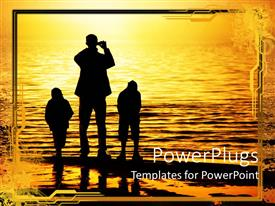 PowerPlugs: PowerPoint template with a father with his kids on a beach