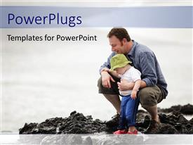 PowerPlugs: PowerPoint template with father with little son enjoying with water