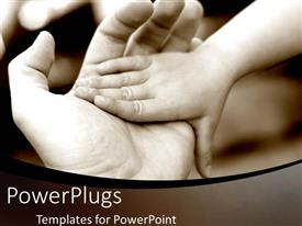 PowerPlugs: PowerPoint template with father and son hands together family life personal life black and white