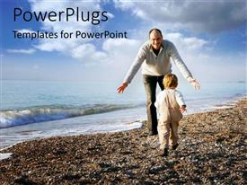 PowerPlugs: PowerPoint template with father and son playing on the beach with nature