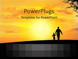 PowerPlugs: PowerPoint template with father and son walking into orange sunset silhouettes family love
