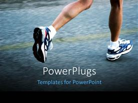 PowerPoint template displaying feet of a running man wearing running shoes