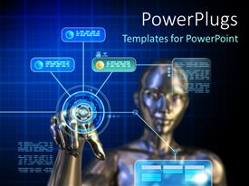 PowerPlugs: PowerPoint template with female android using a futuristic digital touchscreen interface