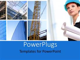 PowerPlugs: PowerPoint template with a construction worker with buildings in background