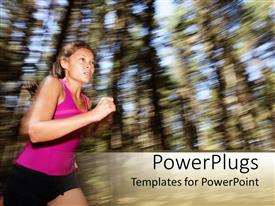 PowerPlugs: PowerPoint template with a female athlete running towards the finish line