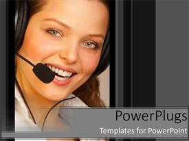 PowerPlugs: PowerPoint template with female customer service representative smiling with headset