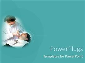PowerPlugs: PowerPoint template with a female dentist and her patient with dentist's tools on a solid colored teal background