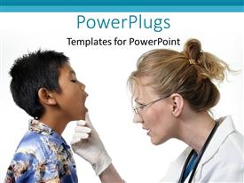 PowerPoint template displaying a female doctor examining the mouth of a little boy