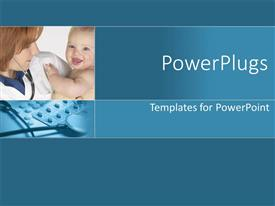 PowerPlugs: PowerPoint template with female doctor holding newborn baby in arms, stethoscope and medicines