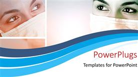 PowerPoint template displaying a close up view of a ladies face with her mouth covered