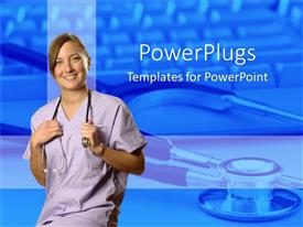 PowerPlugs: PowerPoint template with female doctor with a stethoscope hanging round her neck smiling