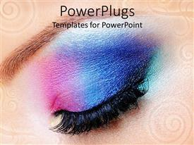 PowerPoint template displaying female eye with gradient colored makeup, close up of beautiful modern makeup